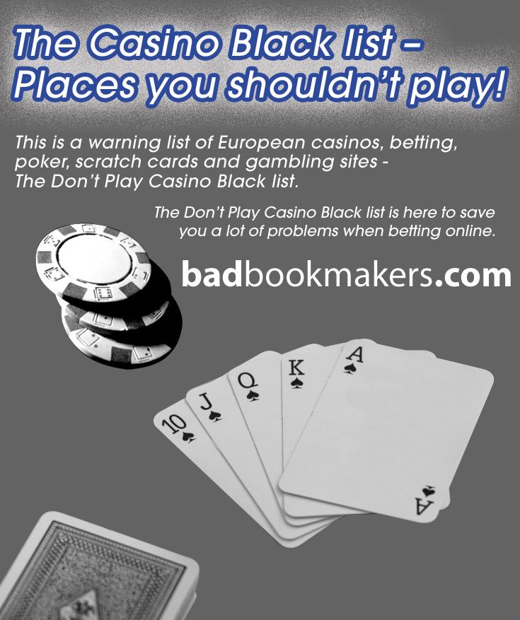 Casino Black List from BadBookmakers.com